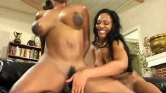 Two naughty ebony babes taking turns wildly fucking a huge black dick