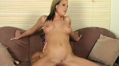 Busty blonde broad goes the extra mile to make her lover cum