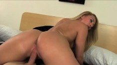 Seductive blonde with sexy tits and a mesmerizing booty needs to get fucked hard