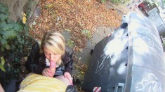 Cute blonde gets talked into relieving his cock of its juices outside