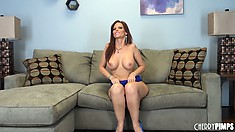 Sympathetic dame with extra-sized knockers Syren De Mer poses in blue panties