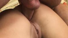 Busty blonde Savannah gets down on her knees to suck an XXL bone