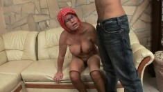Chunky mature woman chokes on this ripped hunk's fat sausage