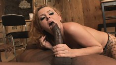 Well-endowed player gets his big fat cock sucked dry by a lusty blonde