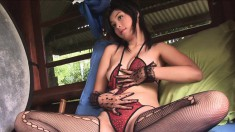 Asian cutie Queen puts on her sexy lingerie and poses for the camera