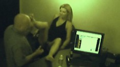 Late night at the office with an emplyee banging the boss on hidden cam