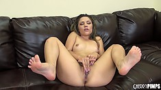 Kristina Rose's toes curl up while she rubs her fresh young pussy