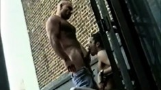 Big gay bear gets a twink on the other side of his dick and taps his ass