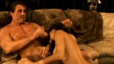 Buxom Shy Love spreads her hot legs and gets her holes pounded rough