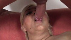 Nasty blonde granny has a young man fucking the hell out of her peach