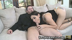Brunette milf Raylene displays her wonderful blowjob skills, eager to get pounded