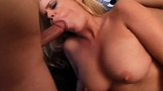 Busty blonde cutie lets these guys plug her holes at the same time