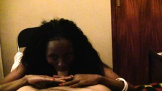 Ebony slut Ann loves white dick to slam her and cum in her mouth