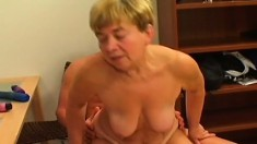 Insatiable Blonde Granny Has A Fiery Snatch Ready For Some Young Meat