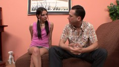 Pigtailed Young Brunette Missy Stone Has A Hung Dude Plowing Her Pussy