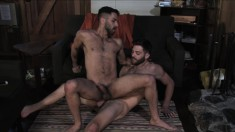 Passionate hunks surrender their bodies to one another in the cabin