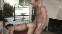 Handsome Blonde Guy Stuffs His Long Prick Deep Inside His Lover's Ass