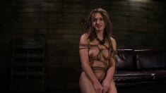 Buxom bondage nympho Callie Calypso gets her tight ass pounded rough
