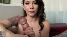 Big tit Ashton Pierce gives a footjob and handjob, then gets cum on her boobs