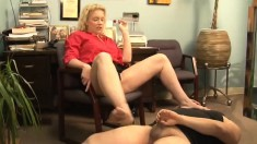Enticing Blonde Milf With Big Tits And Sexy Legs Ballbusts A Stranger