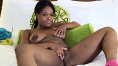 Big-breasted ebony Monique enjoys having her tight slit penetrated