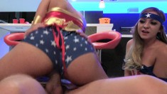 Sexy Babes In Halloween Costumes Eat Dick And Pussy In A Threesome