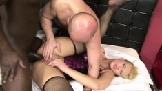 Insatiable blonde cougar gets fucked in the ass by a hung black stud
