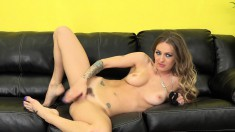 Natasha's fiery pussy gets the hard drilling it deserves on the couch