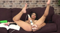 Voluptuous Brunette With Sexy Long Legs Enjoys Her Time With Her Toys