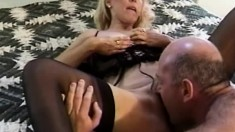 Classy Mature In Stockings Plows Stud