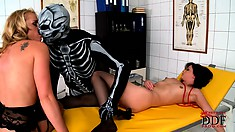 Kat and Alysa get drilled by a skeleton in the doctor's office