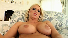 Busty blonde MILF Trisha takes her pink vibrating dildo deep in her snatch