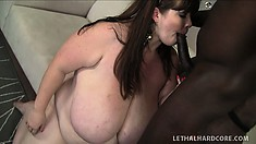 Enormous fat bitch gets down to take it deep from a black cock