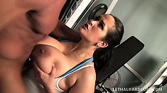 She chews on his meat and then bends over to get drilled doggy style