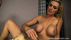 Young blonde babe helps her MILF mentor during a hot threesome