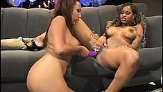 Busty ebony broad gets dildoed deep and hard into a great orgasm