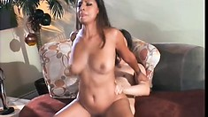 Exotic girl with big boobs gets on top of her man and fucks his hard dick with passion
