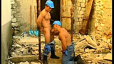 Hunky construction workers take a deserved break and blow off some steam