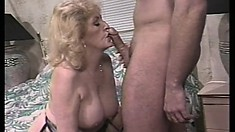 Dirty granny with big hooters trades head and gets her old twat nailed