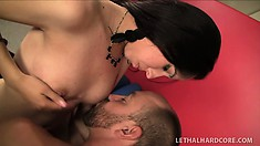 Lucky stud fucks his hot blonde wife and a cute young brunette all over the couch