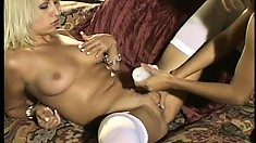 Big breasted Asian babe pleasures her blonde girlfriend's cunt