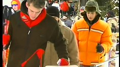 Two gay studs take a break to blow rods and pack asses before going skiing