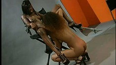 Horny young ebony babes get naked and fuck each other like crazy