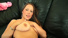 Busty babe Kaylee spreads her legs and the black stud fills her twat with his dick