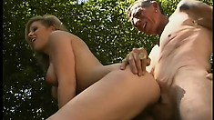Old man shows a mouthwatering blond hoochie he is still up to it