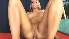 Busty blonde babe gobbles up his BBC then takes it in her tight ass