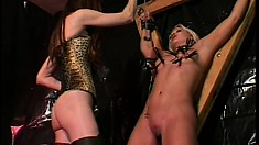 Hot blonde is slave for the day is tied up and tortured by her mistress
