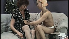 Lusty mature lesbian can't resist this hot young blonde's amazing slit