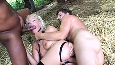 Blonde slut in high boots gets shafted by a massive black cock