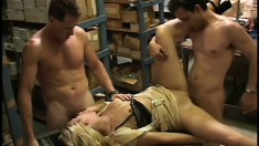 Two big-dicked guys using each and every of hot blond mommy's orifices